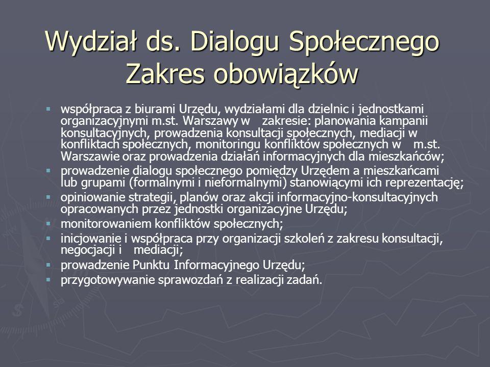 Wydział ds. Dialogu Społecznego Zakres obowiązków współpraca z biurami Urzędu, wydziałami dla dzielnic i jednostkami organizacyjnymi m.st. Warszawy w