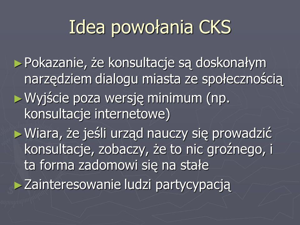 Idea powołania CKS Pokazanie, że konsultacje są doskonałym narzędziem dialogu miasta ze społecznością Pokazanie, że konsultacje są doskonałym narzędzi