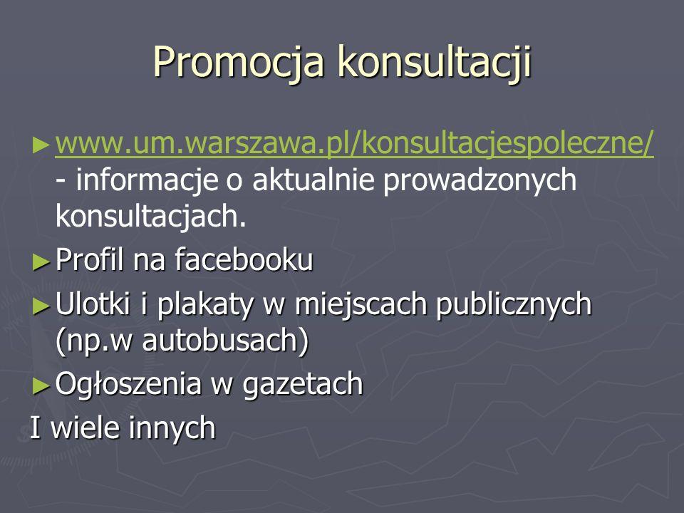 Promocja konsultacji www.um.warszawa.pl/konsultacjespoleczne/ - informacje o aktualnie prowadzonych konsultacjach. www.um.warszawa.pl/konsultacjespole