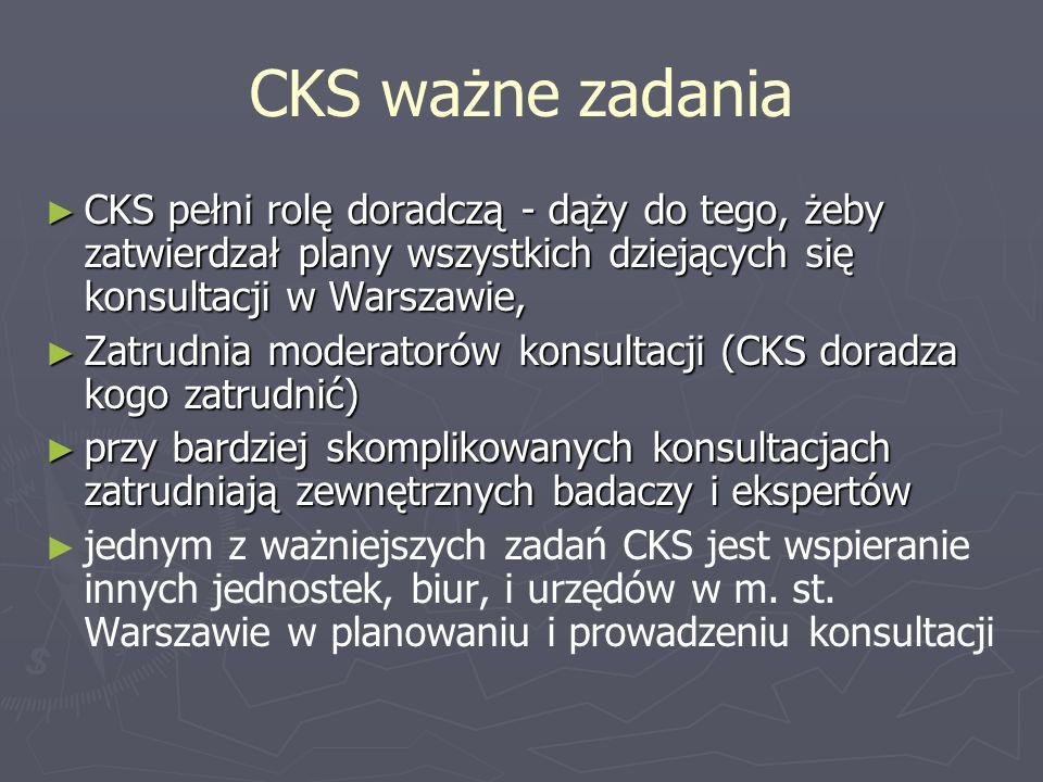 CKS ważne zadania CKS pełni rolę doradczą - dąży do tego, żeby zatwierdzał plany wszystkich dziejących się konsultacji w Warszawie, CKS pełni rolę dor