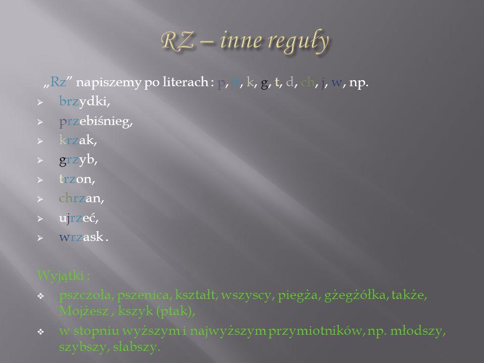 Rz napiszemy po literach : p, b, k, g, t, d, ch, j, w, np. brzydki, przebiśnieg, krzak, grzyb, trzon, chrzan, ujrzeć, wrzask. Wyjątki : pszczoła, psze