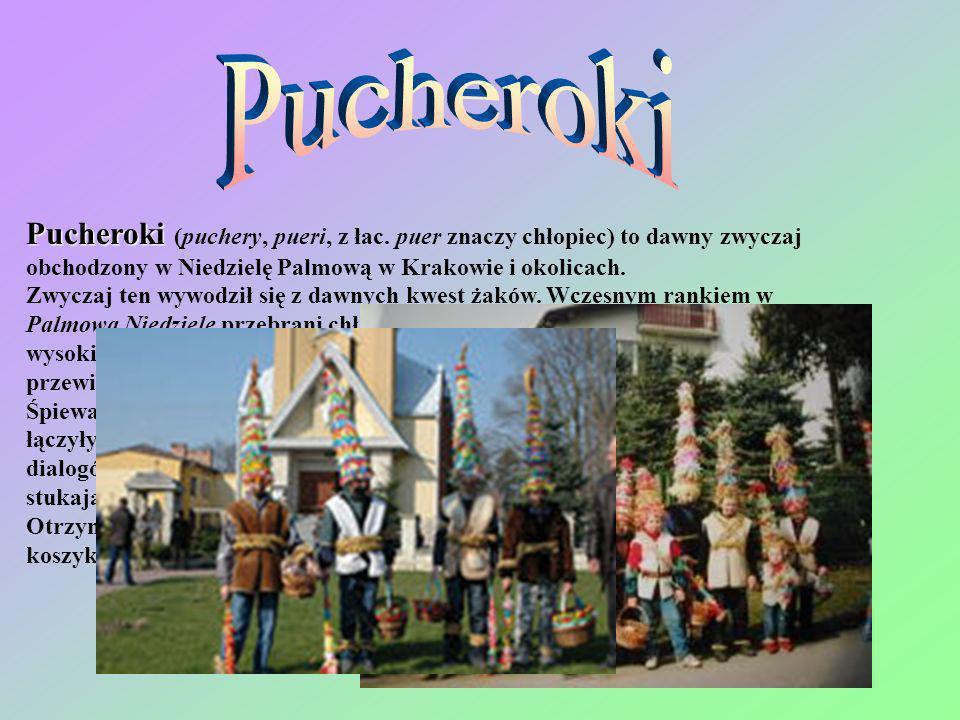 Pucheroki Pucheroki (puchery, pueri, z łac. puer znaczy chłopiec) to dawny zwyczaj obchodzony w Niedzielę Palmową w Krakowie i okolicach. Zwyczaj ten