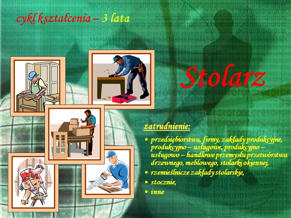 24 cykl kształcenia – 3 lata zatrudnienie: przedsiębiorstwa, firmy, zakłady produkcyjne, produkcyjno – usługowe, produkcyjno – usługowo – handlowe prz