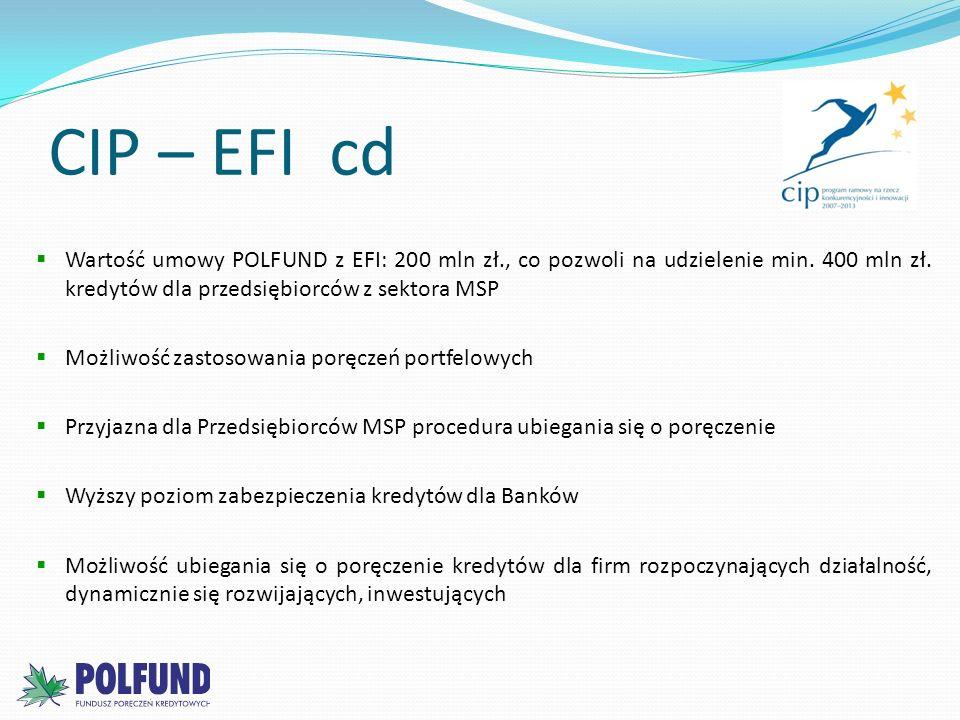 CIP – EFI cd Wartość umowy POLFUND z EFI: 200 mln zł., co pozwoli na udzielenie min. 400 mln zł. kredytów dla przedsiębiorców z sektora MSP Możliwość