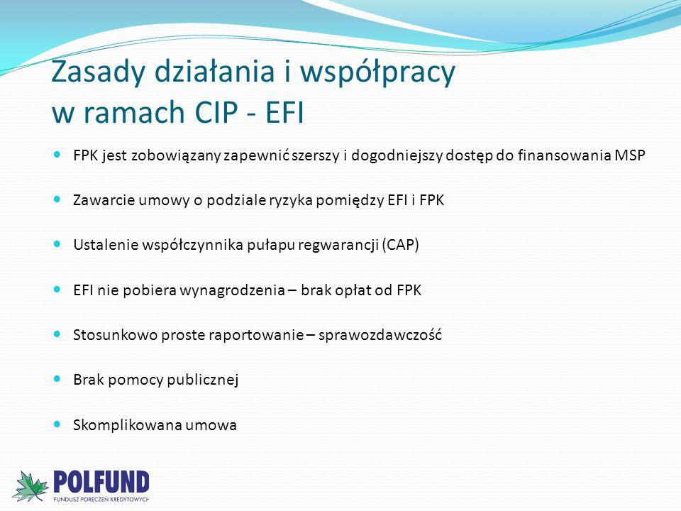 Zasady działania i współpracy w ramach CIP - EFI FPK jest zobowiązany zapewnić szerszy i dogodniejszy dostęp do finansowania MSP Zawarcie umowy o podz