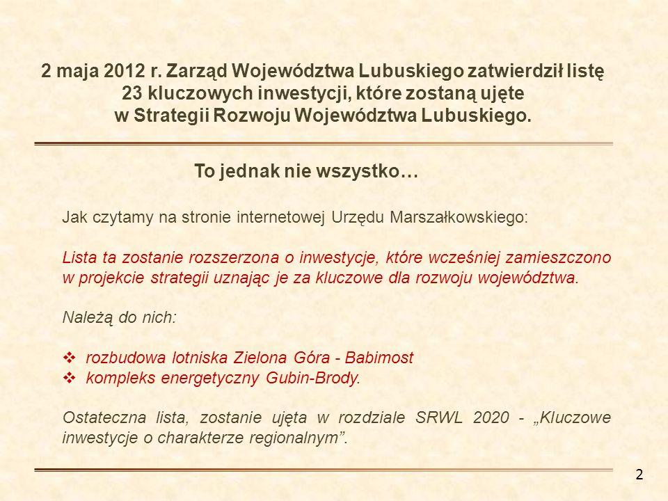 Jak czytamy na stronie internetowej Urzędu Marszałkowskiego: Lista ta zostanie rozszerzona o inwestycje, które wcześniej zamieszczono w projekcie stra