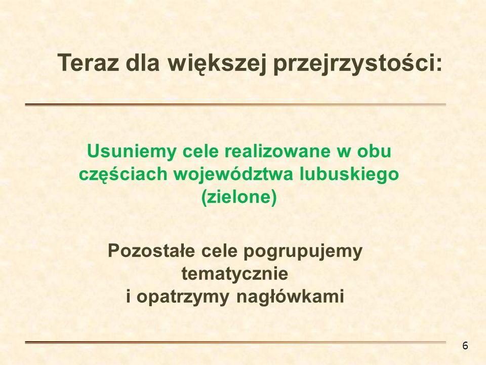 Teraz dla większej przejrzystości: Usuniemy cele realizowane w obu częściach województwa lubuskiego (zielone) Pozostałe cele pogrupujemy tematycznie i