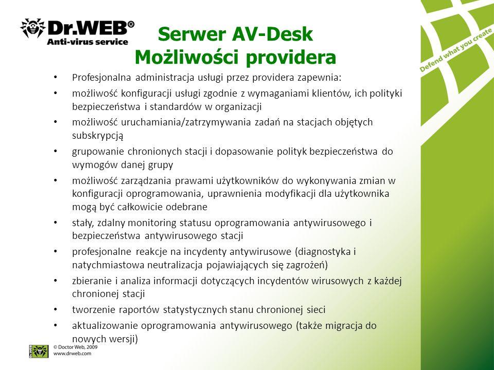 Serwer AV-Desk Możliwości providera Profesjonalna administracja usługi przez providera zapewnia: możliwość konfiguracji usługi zgodnie z wymaganiami klientów, ich polityki bezpieczeństwa i standardów w organizacji możliwość uruchamiania/zatrzymywania zadań na stacjach objętych subskrypcją grupowanie chronionych stacji i dopasowanie polityk bezpieczeństwa do wymogów danej grupy możliwość zarządzania prawami użytkowników do wykonywania zmian w konfiguracji oprogramowania, uprawnienia modyfikacji dla użytkownika mogą być całkowicie odebrane stały, zdalny monitoring statusu oprogramowania antywirusowego i bezpieczeństwa antywirusowego stacji profesjonalne reakcje na incydenty antywirusowe (diagnostyka i natychmiastowa neutralizacja pojawiających się zagrożeń) zbieranie i analiza informacji dotyczących incydentów wirusowych z każdej chronionej stacji tworzenie raportów statystycznych stanu chronionej sieci aktualizowanie oprogramowania antywirusowego (także migracja do nowych wersji)