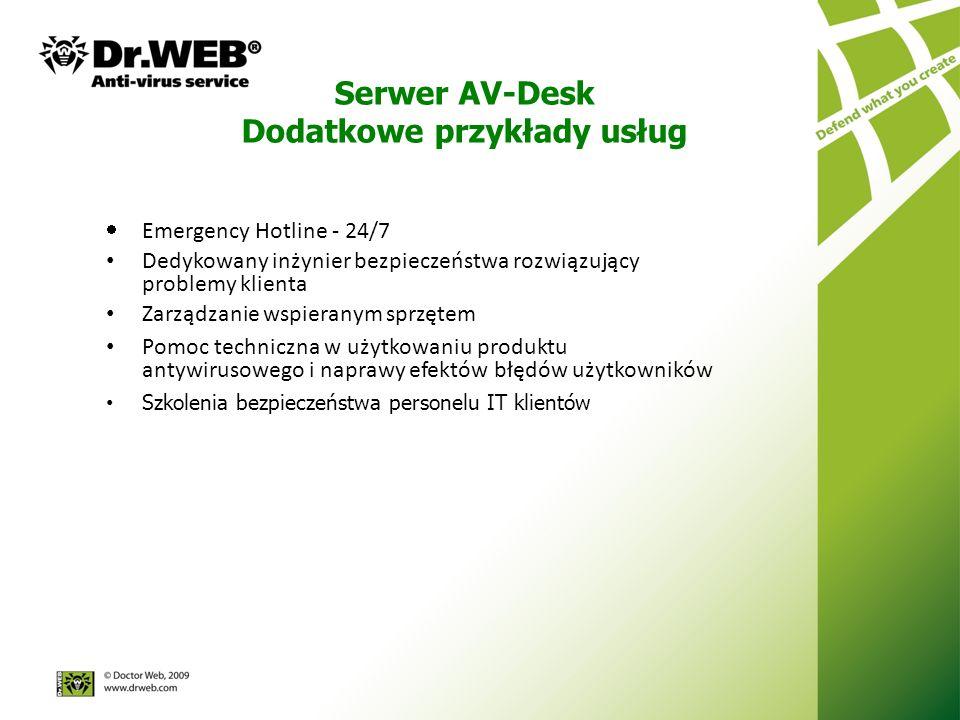 Serwer AV-Desk Dodatkowe przykłady usług Emergency Hotline - 24/7 Dedykowany inżynier bezpieczeństwa rozwiązujący problemy klienta Zarządzanie wspieranym sprzętem Pomoc techniczna w użytkowaniu produktu antywirusowego i naprawy efektów błędów użytkowników Szkolenia bezpieczeństwa personelu IT klientów