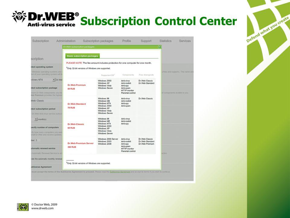 Subscription Control Center