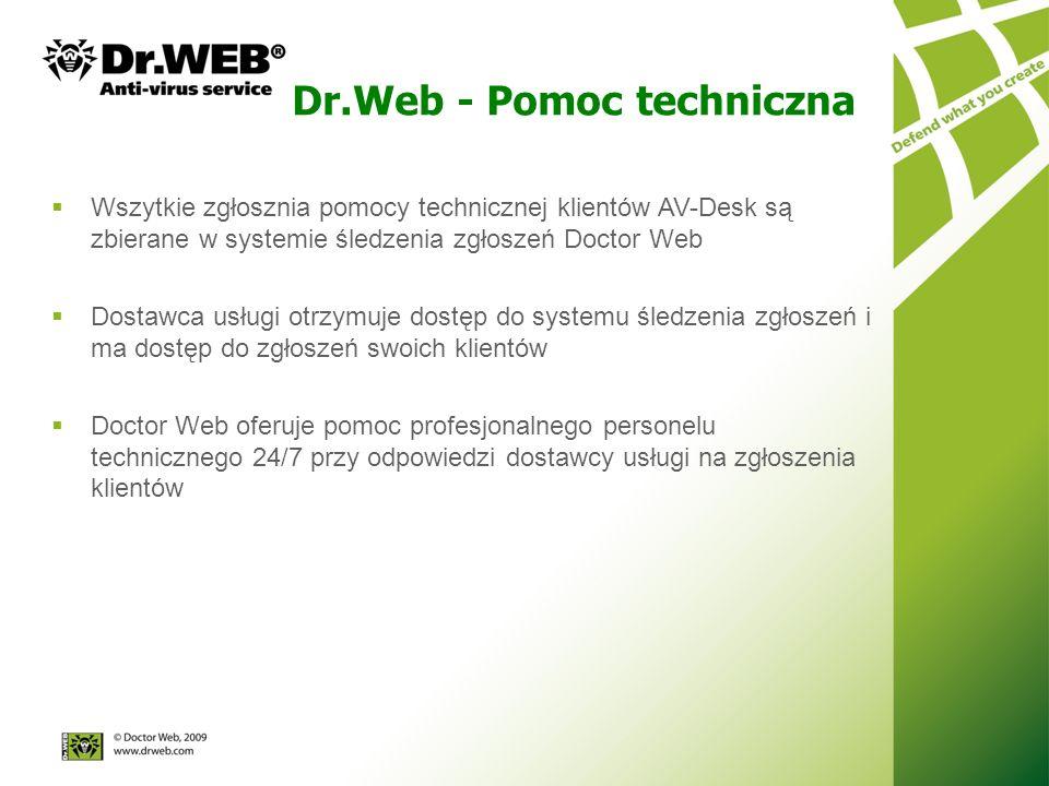 Wszytkie zgłosznia pomocy technicznej klientów AV-Desk są zbierane w systemie śledzenia zgłoszeń Doctor Web Dostawca usługi otrzymuje dostęp do systemu śledzenia zgłoszeń i ma dostęp do zgłoszeń swoich klientów Doctor Web oferuje pomoc profesjonalnego personelu technicznego 24/7 przy odpowiedzi dostawcy usługi na zgłoszenia klientów Dr.Web - Pomoc techniczna