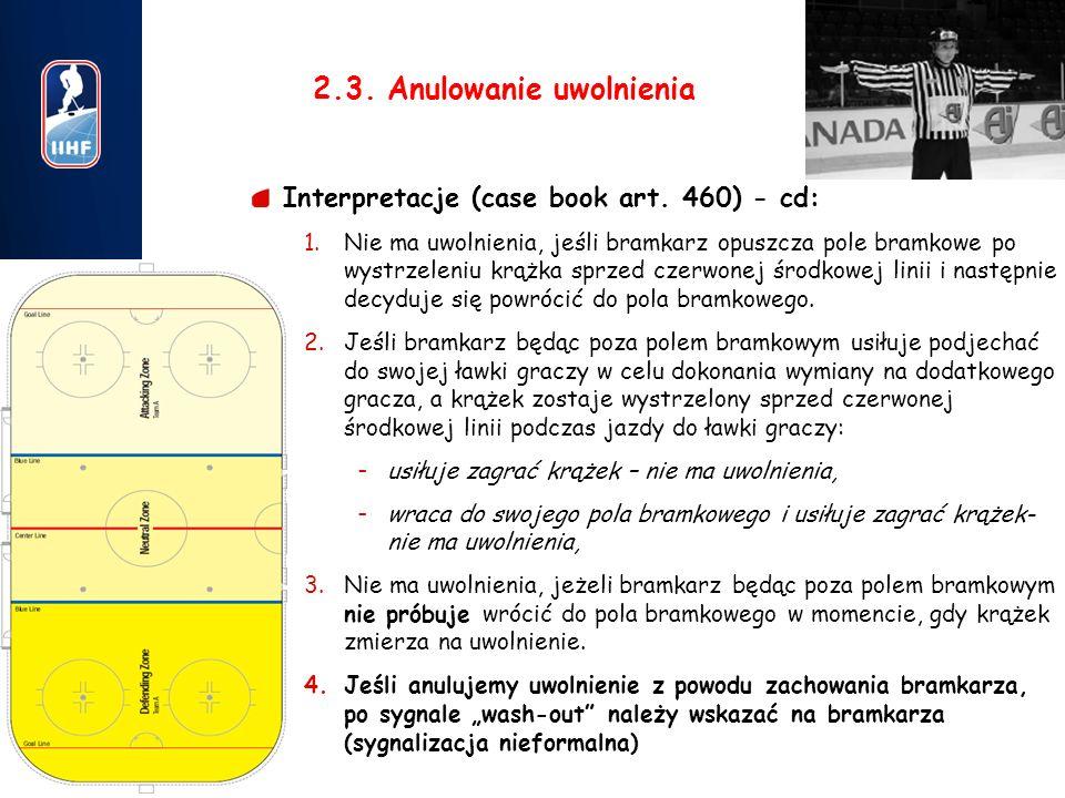 7 2.3. Anulowanie uwolnienia Interpretacje (case book art. 460) - cd: 1.Nie ma uwolnienia, jeśli bramkarz opuszcza pole bramkowe po wystrzeleniu krążk