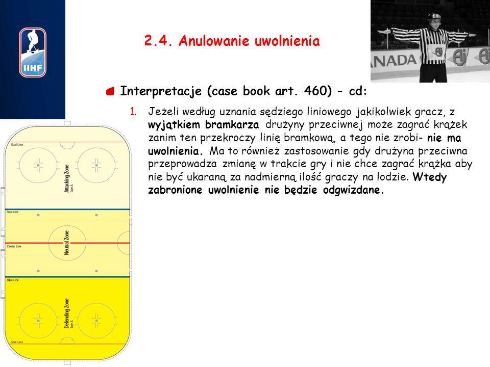 8 2.4. Anulowanie uwolnienia Interpretacje (case book art. 460) - cd: 1.Jeżeli według uznania sędziego liniowego jakikolwiek gracz, z wyjątkiem bramka