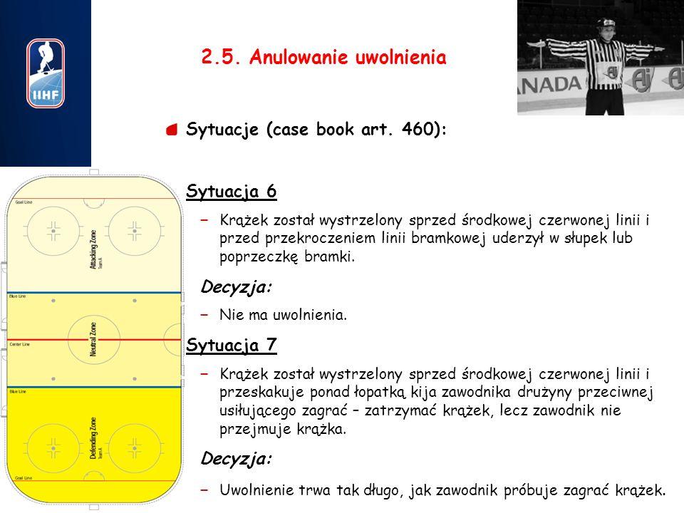 9 2.5. Anulowanie uwolnienia Sytuacje (case book art. 460): 1.Sytuacja 6 – Krążek został wystrzelony sprzed środkowej czerwonej linii i przed przekroc