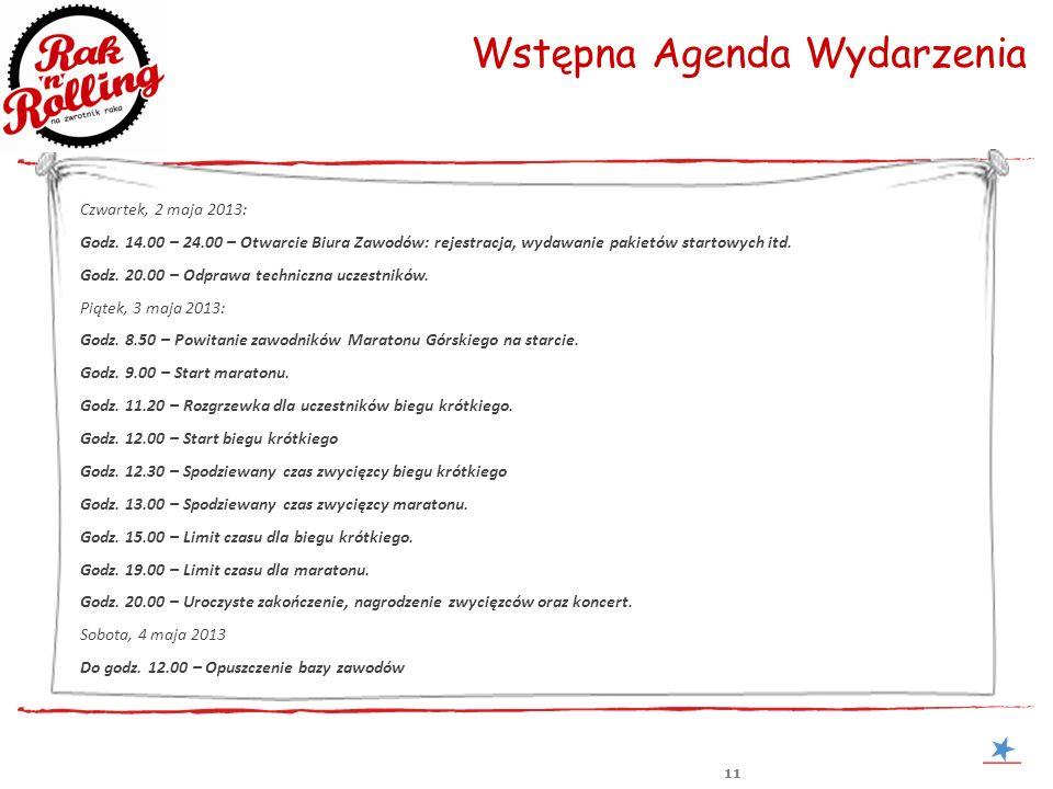 11 Wstępna Agenda Wydarzenia Czwartek, 2 maja 2013: Godz. 14.00 – 24.00 – Otwarcie Biura Zawodów: rejestracja, wydawanie pakietów startowych itd. Godz
