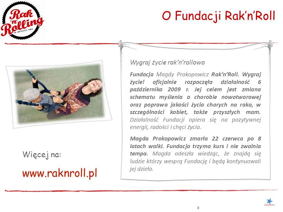 333 O Fundacji RaknRoll Wygraj życie raknrollowo Fundacja Magdy Prokopowicz RaknRoll. Wygraj życie! oficjalnie rozpoczęła działalność 6 października 2