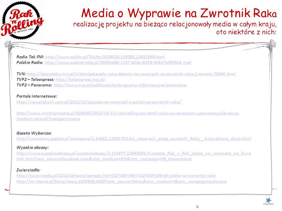555 Media o Wyprawie na Zwrotnik Ra ka realizację projektu na bieżąco relacjonowały media w całym kraju, oto niektóre z nich: Radio Tok FM: http://www