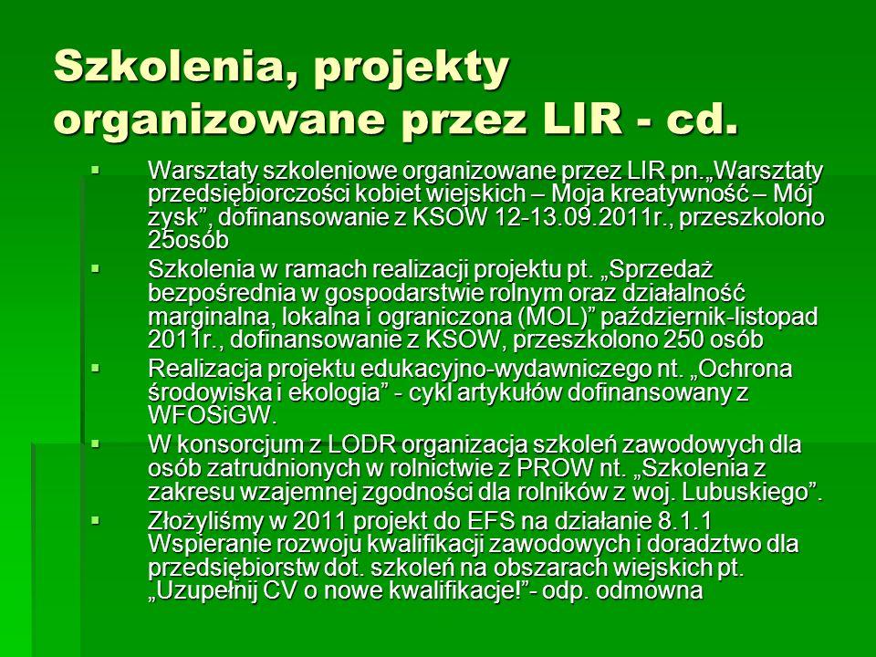 Szkolenia, projekty organizowane przez LIR - cd. Warsztaty szkoleniowe organizowane przez LIR pn.Warsztaty przedsiębiorczości kobiet wiejskich – Moja