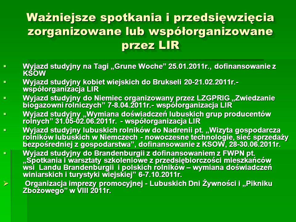 Ważniejsze spotkania i przedsięwzięcia zorganizowane lub współorganizowane przez LIR Wyjazd studyjny na Tagi Grune Woche 25.01.2011r., dofinansowanie