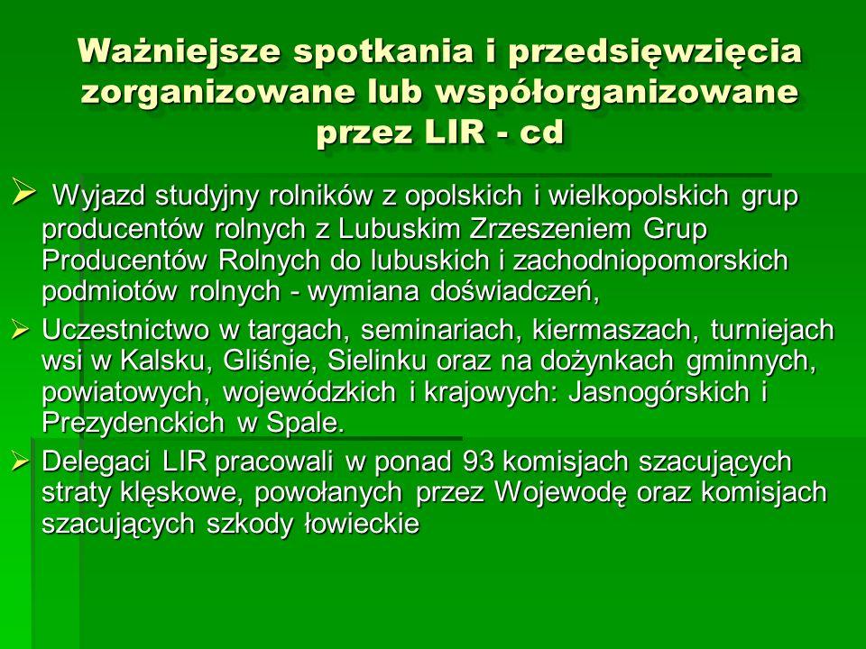 Ważniejsze spotkania i przedsięwzięcia zorganizowane lub współorganizowane przez LIR - cd Wyjazd studyjny rolników z opolskich i wielkopolskich grup p