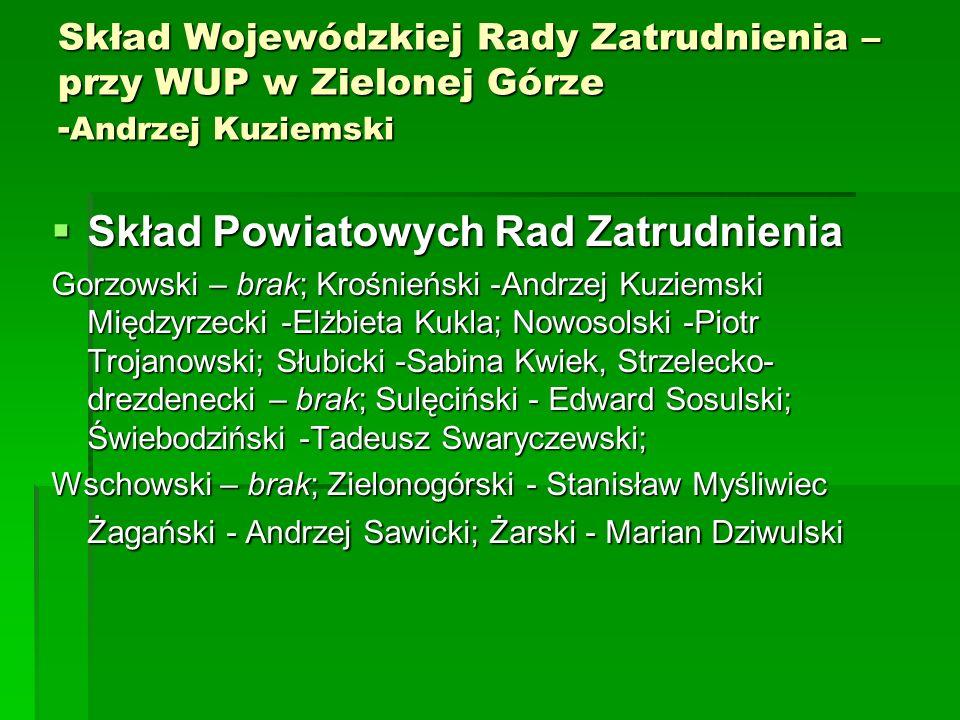 Skład Wojewódzkiej Rady Zatrudnienia – przy WUP w Zielonej Górze - Andrzej Kuziemski Skład Powiatowych Rad Zatrudnienia Skład Powiatowych Rad Zatrudni