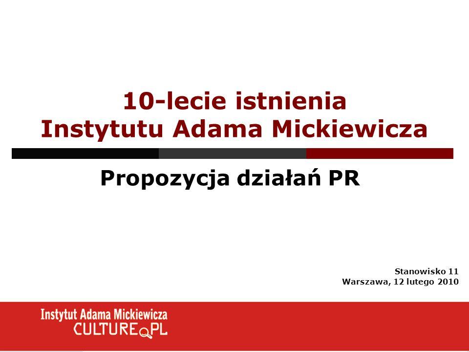 10-lecie istnienia Instytutu Adama Mickiewicza Propozycja działań PR Stanowisko 11 Warszawa, 12 lutego 2010