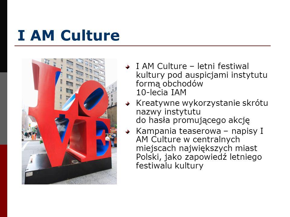 I AM Culture I AM Culture – letni festiwal kultury pod auspicjami instytutu formą obchodów 10-lecia IAM Kreatywne wykorzystanie skrótu nazwy instytutu