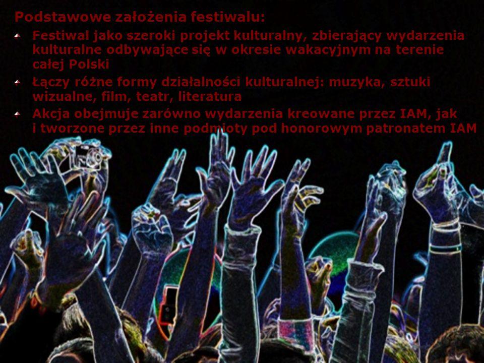 Podstawowe założenia festiwalu: Festiwal jako szeroki projekt kulturalny, zbierający wydarzenia kulturalne odbywające się w okresie wakacyjnym na tere