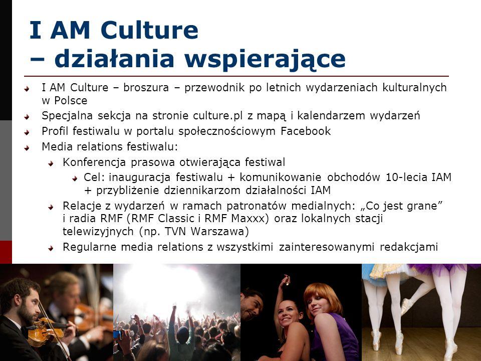 I AM Culture – działania wspierające I AM Culture – broszura – przewodnik po letnich wydarzeniach kulturalnych w Polsce Specjalna sekcja na stronie cu