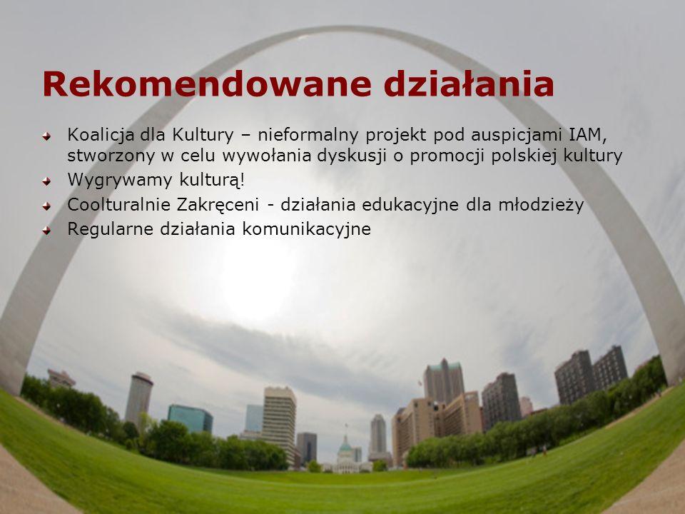 Rekomendowane działania Koalicja dla Kultury – nieformalny projekt pod auspicjami IAM, stworzony w celu wywołania dyskusji o promocji polskiej kultury