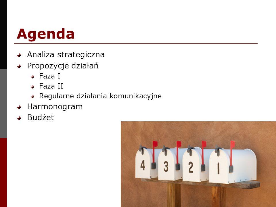 Agenda Analiza strategiczna Propozycje działań Faza I Faza II Regularne działania komunikacyjne Harmonogram Budżet