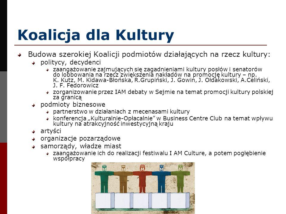 Koalicja dla Kultury Budowa szerokiej Koalicji podmiotów działających na rzecz kultury: politycy, decydenci zaangażowanie zajmujących się zagadnieniam