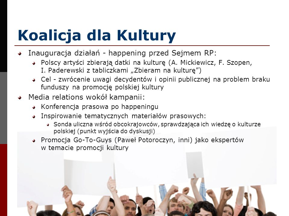 Koalicja dla Kultury Inauguracja działań - happening przed Sejmem RP: Polscy artyści zbierają datki na kulturę (A. Mickiewicz, F. Szopen, I. Paderewsk