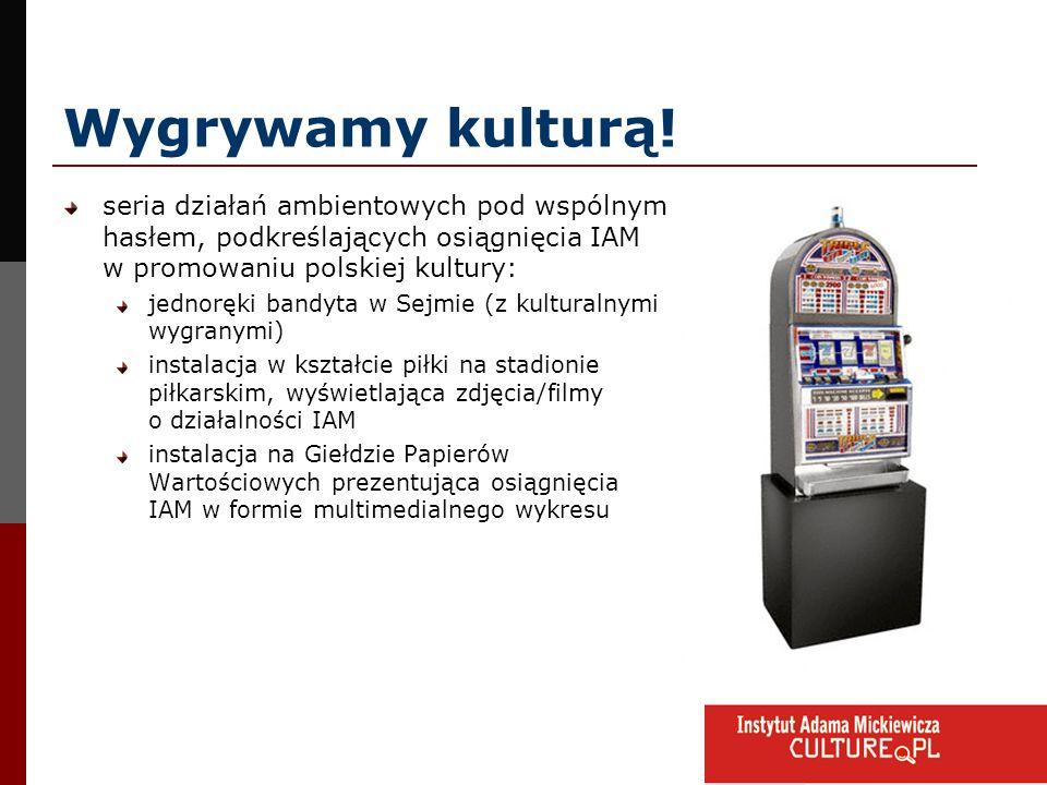 Wygrywamy kulturą! seria działań ambientowych pod wspólnym hasłem, podkreślających osiągnięcia IAM w promowaniu polskiej kultury: jednoręki bandyta w