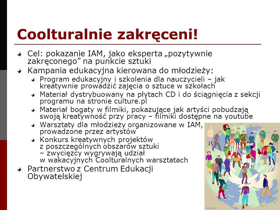 Coolturalnie zakręceni! Cel: pokazanie IAM, jako eksperta pozytywnie zakręconego na punkcie sztuki Kampania edukacyjna kierowana do młodzieży: Program