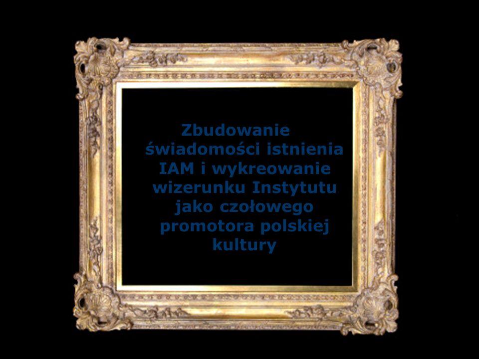 Grupy docelowe a cele komunikacyjne C - Polska opinia publiczna Budowa świadomości istnienia marki IAM Budowa wizerunku IAM jako czołowej instytucji zajmującej się promocją kultury polskiej B - Podmioty wpływające na kształt kultury Umocnienie wizerunku IAM Budowa świadomości znaczenia kultury dla atrakcyjności inwestycyjnej kraju Kultura jako doskonała inwestycja wizerunkowa dla biznesu A - Decydenci Umocnienie wizerunku IAM Budowa świadomości problemu zbyt niskich nakładów na promocję sztuki Budowa świadomości znaczenia kultury dla atrakcyjności inwestycyjnej kraju A B C
