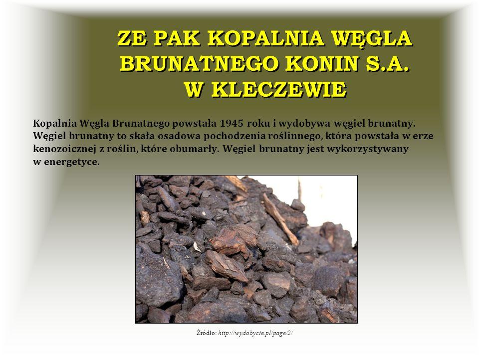 ZE PAK KOPALNIA WĘGLA BRUNATNEGO KONIN S.A. W KLECZEWIE Kopalnia Węgla Brunatnego powstała 1945 roku i wydobywa węgiel brunatny. Węgiel brunatny to sk