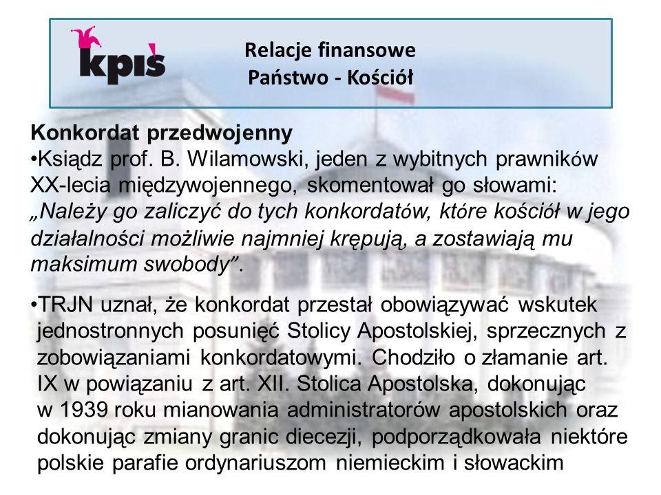 Relacje finansowe Państwo - Kościół Konkordat przedwojenny Ksiądz prof. B. Wilamowski, jeden z wybitnych prawnik ó w XX-lecia międzywojennego, skoment