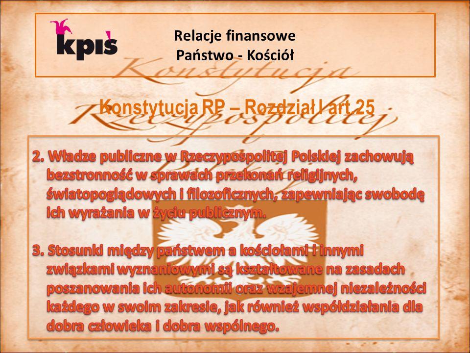 Relacje finansowe Państwo - Kościół Konstytucja RP – Rozdział I art.25