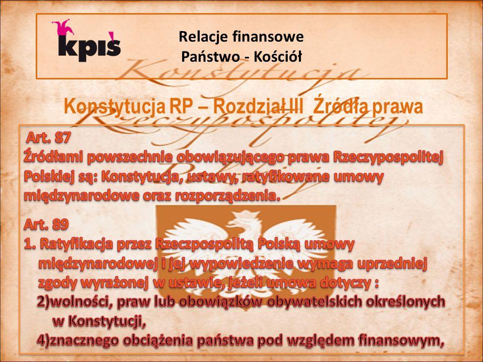 Relacje finansowe Państwo - Kościół Konstytucja RP – Rozdział III Źródła prawa