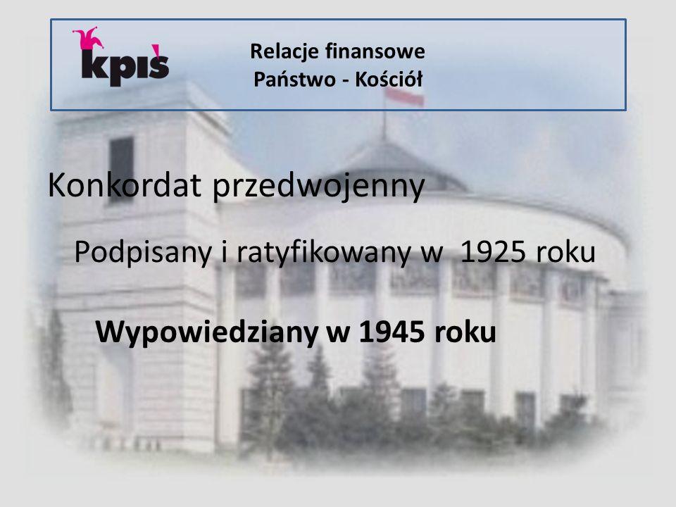 Relacje finansowe Państwo - Kościół Konkordat przedwojenny Podpisany i ratyfikowany w 1925 roku Wypowiedziany w 1945 roku