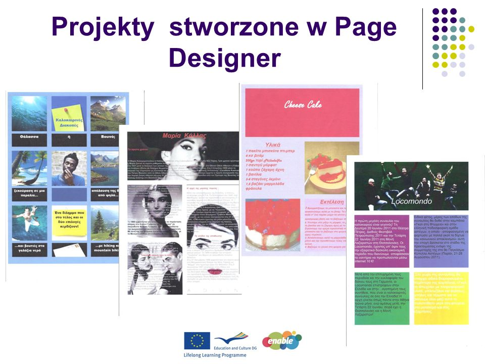 Projekty stworzone w Page Designer