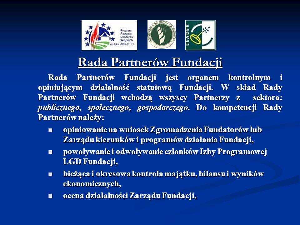 Rada Partnerów Fundacji Rada Partnerów Fundacji jest organem kontrolnym i opiniującym działalność statutową Fundacji. W skład Rady Partnerów Fundacji