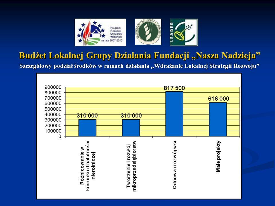 Budżet Lokalnej Grupy Działania Fundacji Nasza Nadzieja Szczegółowy podział środków w ramach działania Wdrażanie Lokalnej Strategii Rozwoju