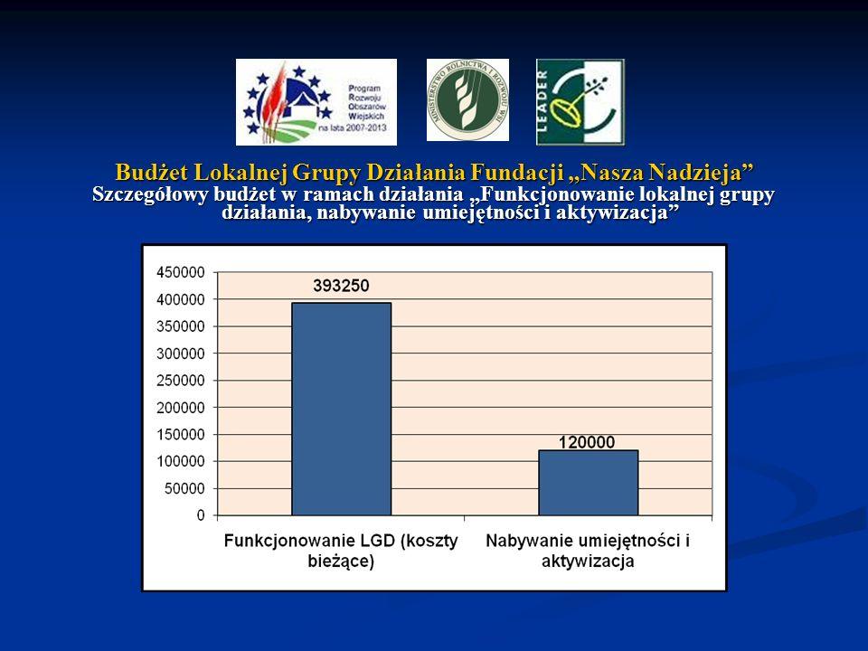 Budżet Lokalnej Grupy Działania Fundacji Nasza Nadzieja Szczegółowy budżet w ramach działania Funkcjonowanie lokalnej grupy działania, nabywanie umiej