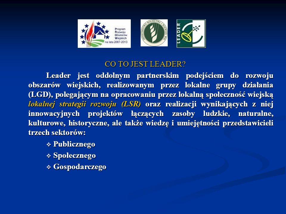 CO TO JEST LEADER? Leader jest oddolnym partnerskim podejściem do rozwoju obszarów wiejskich, realizowanym przez lokalne grupy działania (LGD), polega