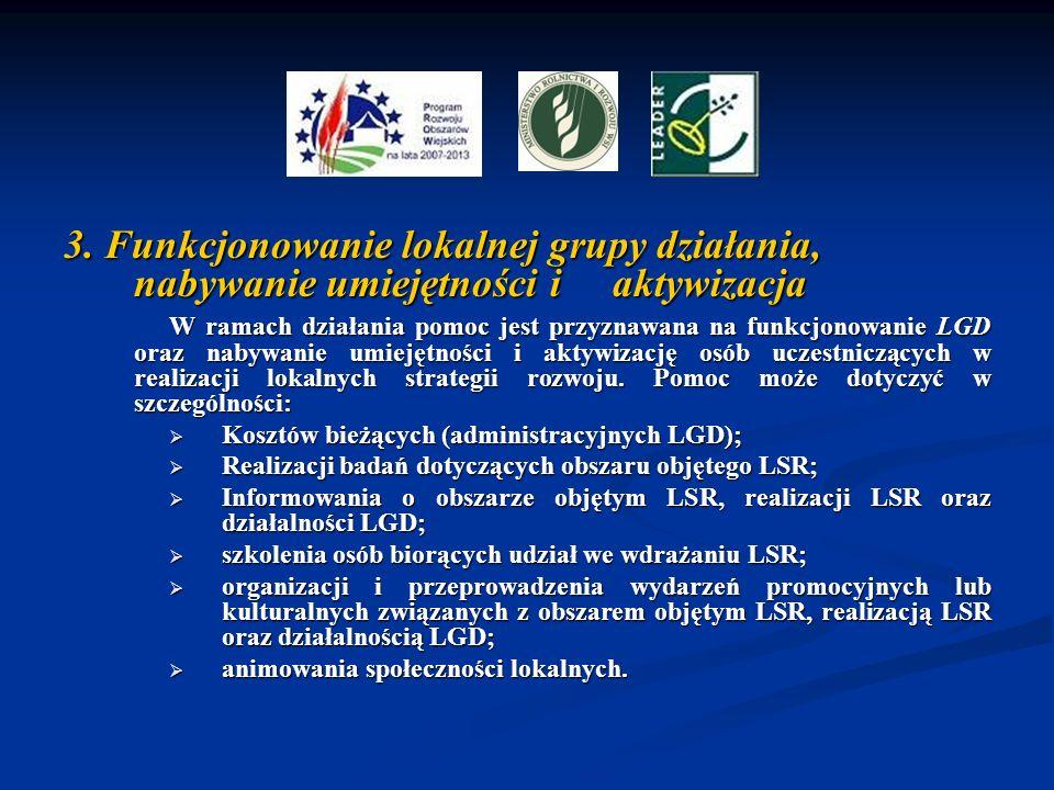 3. Funkcjonowanie lokalnej grupy działania, nabywanie umiejętności i aktywizacja W ramach działania pomoc jest przyznawana na funkcjonowanie LGD oraz