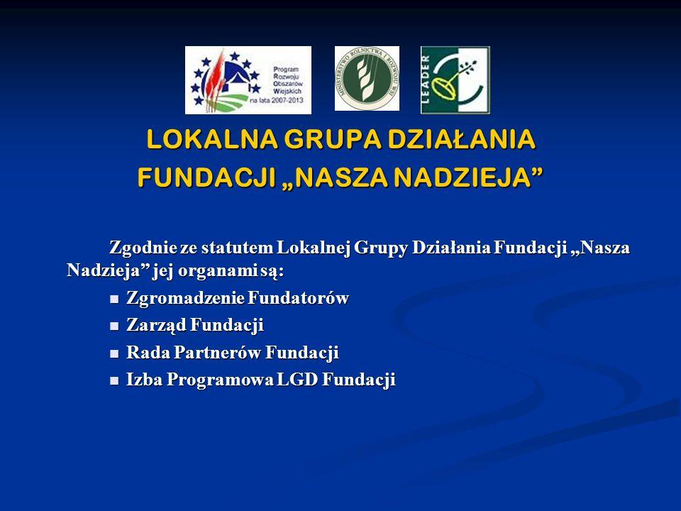 LOKALNA GRUPA DZIA Ł ANIA FUNDACJI NASZA NADZIEJA Zgodnie ze statutem Lokalnej Grupy Działania Fundacji Nasza Nadzieja jej organami są: Zgromadzenie F