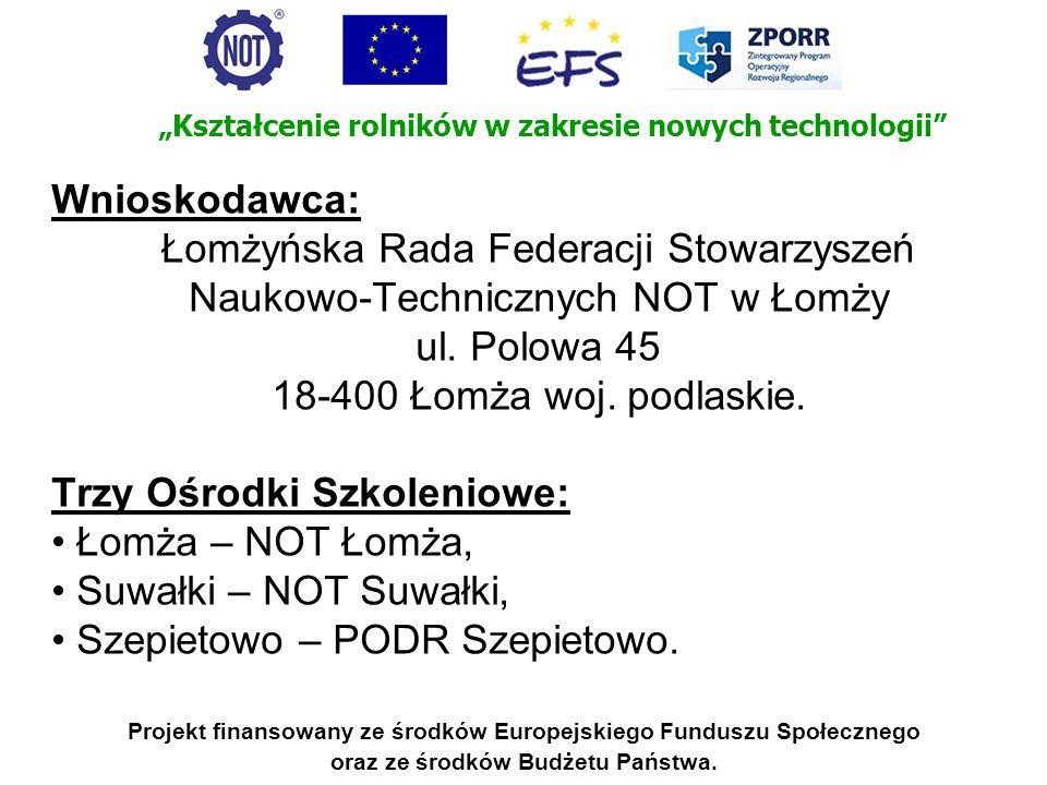 Projekt jest realizowany w ramach Działania ZPORR 2.1: Rozwój umiejętności powiązany z potrzebami regionalnego rynku pracy i możliwości kształcenia ustawicznego w regionie.