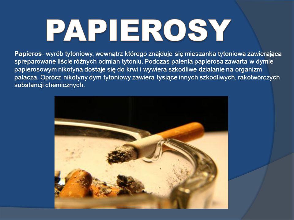 Papieros- wyrób tytoniowy, wewnątrz którego znajduje się mieszanka tytoniowa zawierająca spreparowane liście różnych odmian tytoniu. Podczas palenia p